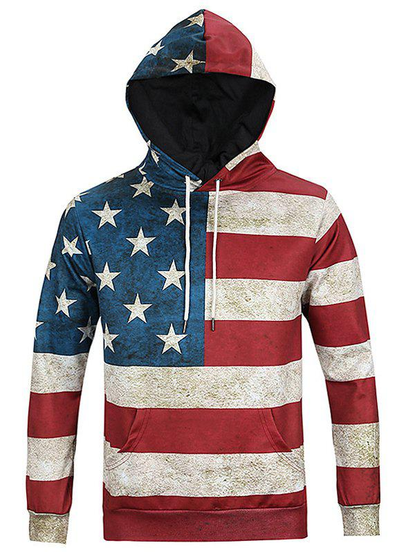 Chic Flag Print Long Sleeves Hoodie For Men - COLORMIX 3XL