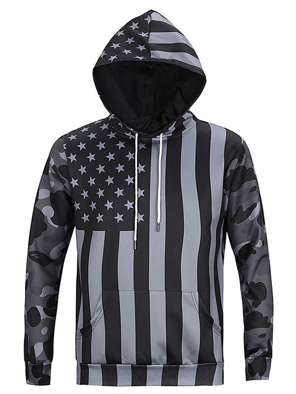 Black and Gray Flag Print Camo Spliced Long Sleeves Hoodie For Men