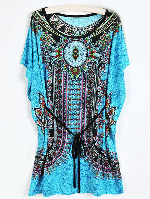 Casual Women's Tribal Print Loose-Fitting Dress - LIGHT BLUE ONE SIZE