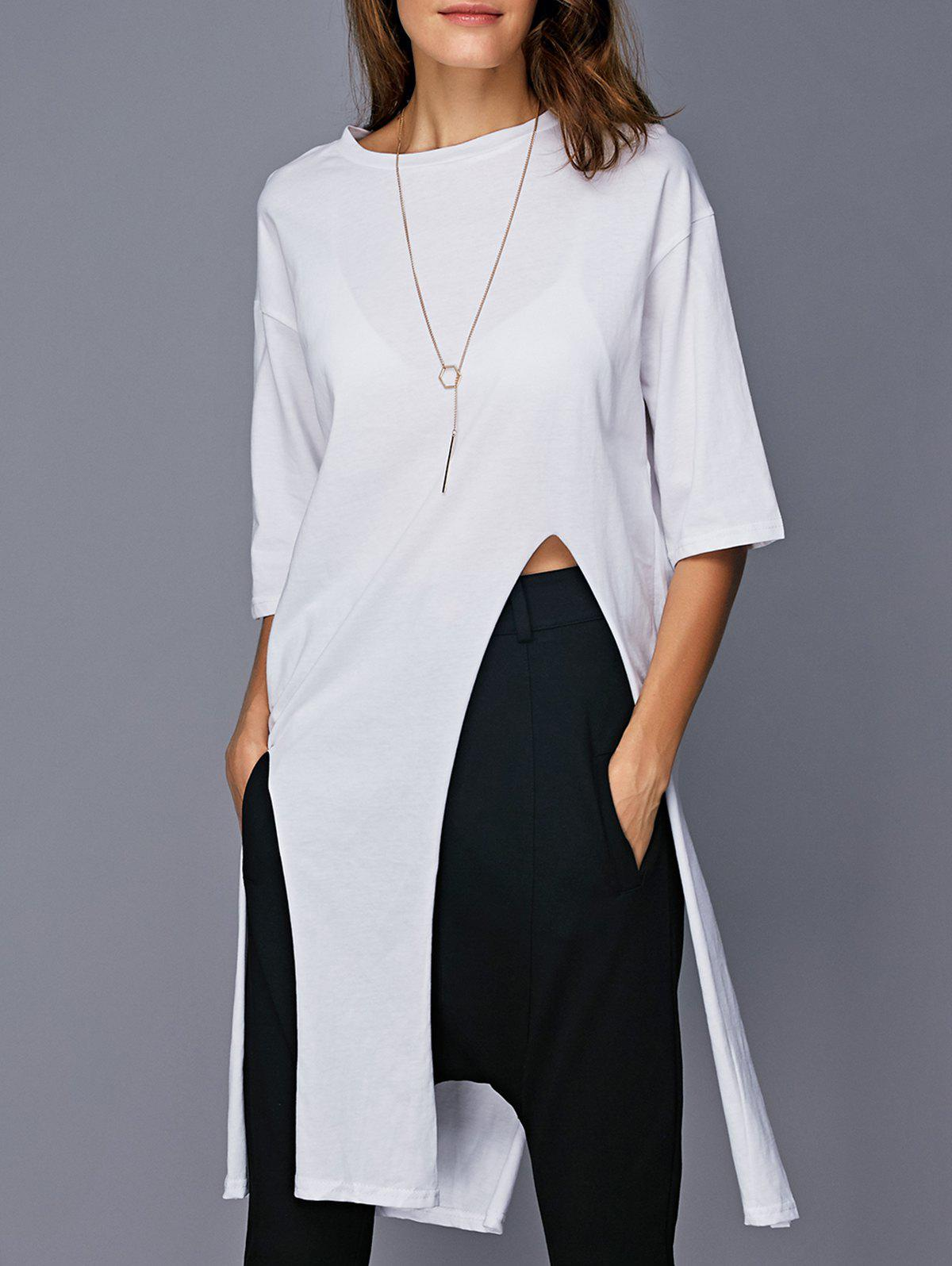 Stylish High Slit Pure Color Tee - WHITE ONE SIZE