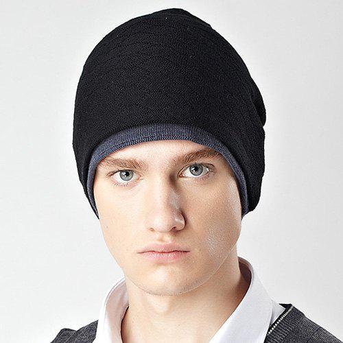 Stylish Honeycomb Winter Warm Men's Knitted Beanie - BLACK