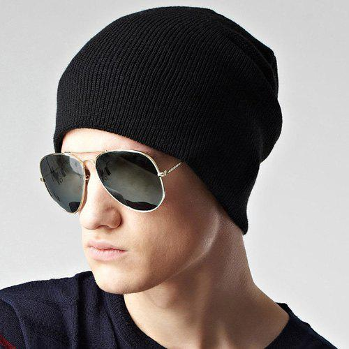 Stylish Solid Color Double-Deck Winter Warm Men's Knitted Beanie - BLACK