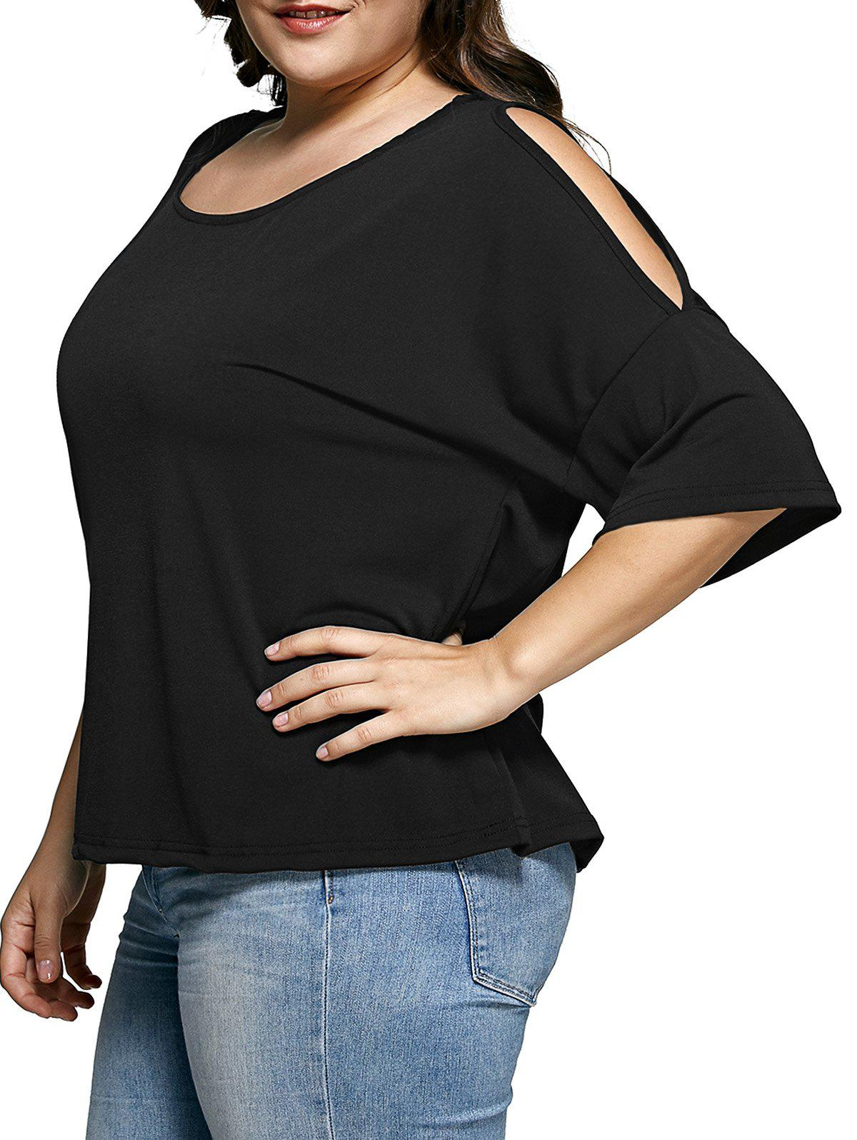Plus Size Cold Shoulder Black T-Shirt - BLACK 5XL