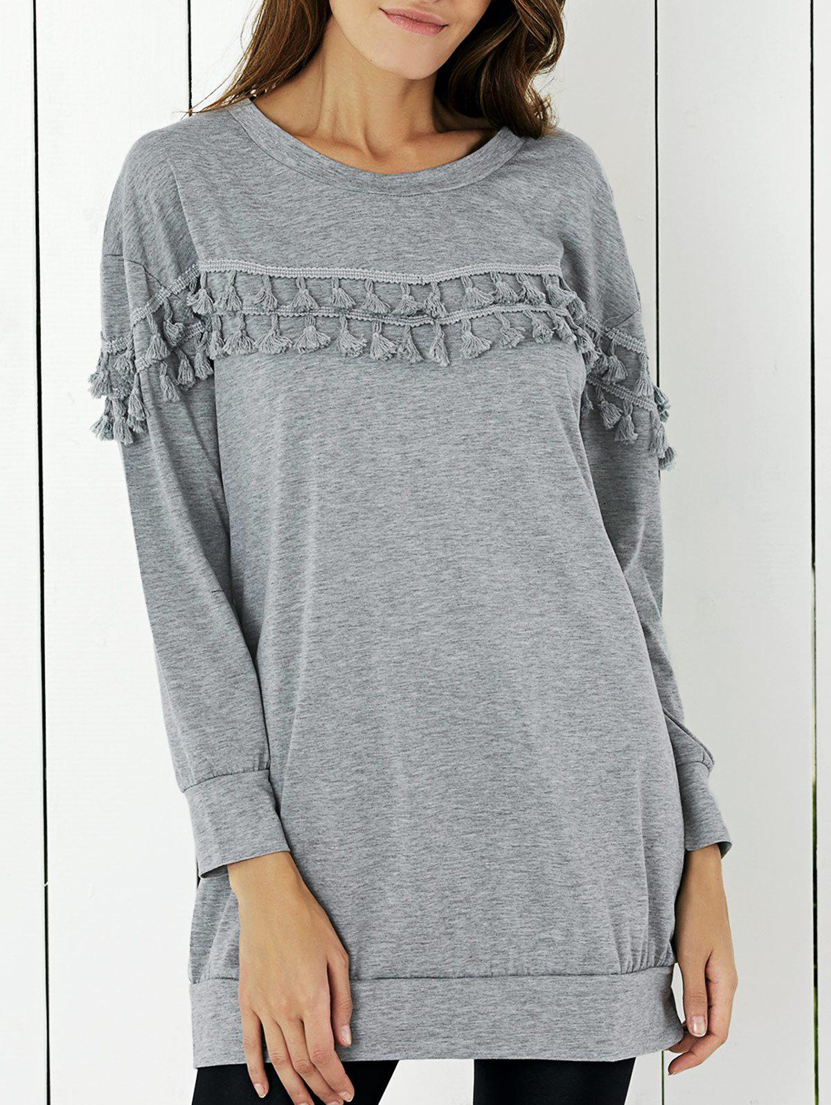 Tassel Embellished Solid Color Blouse - GRAY XL