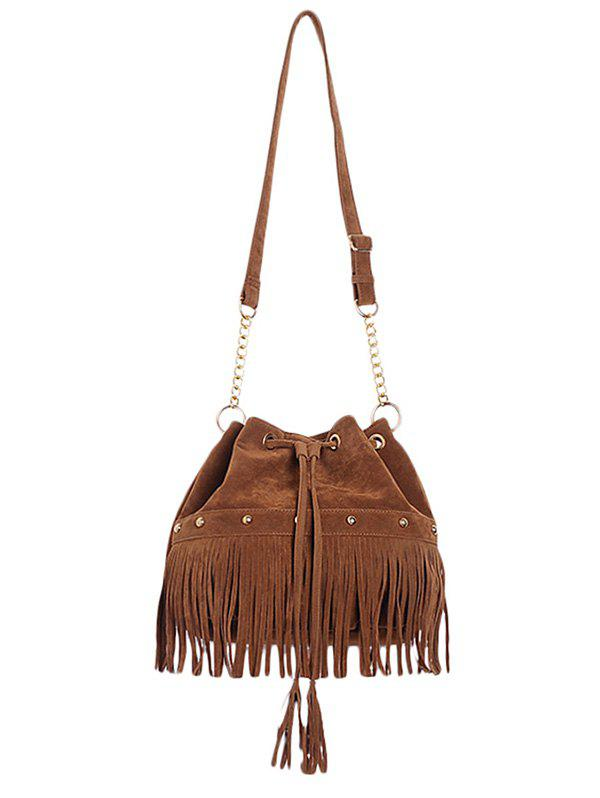 Stylish Fringe and Rivet Design Women's Crossbody Bag - BROWN