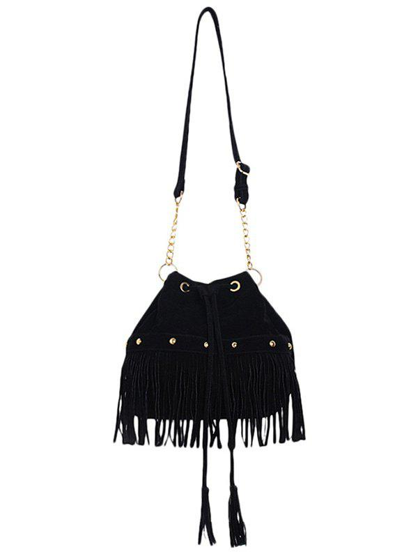 Stylish Fringe and Rivet Design Women's Crossbody Bag - BLACK