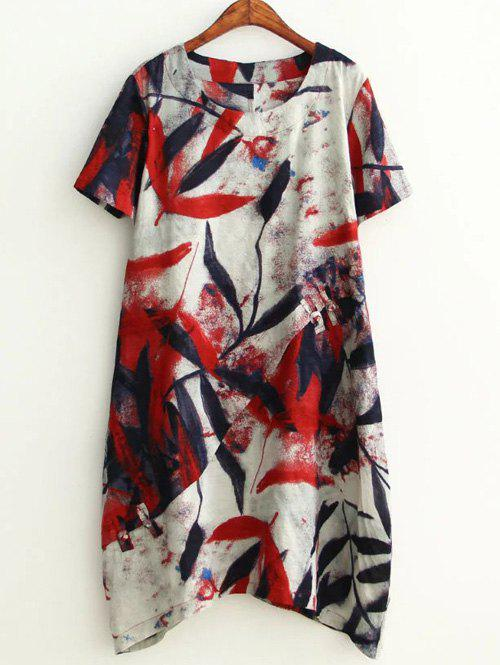 Plus Size Leaf Ink Painting Baggy Tee Shirt Dress - RED 4XL