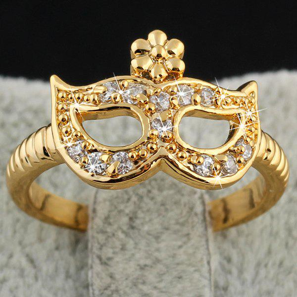 Charming Cut Out Rhinestone Gold Plated Eye Mask Ring For Women
