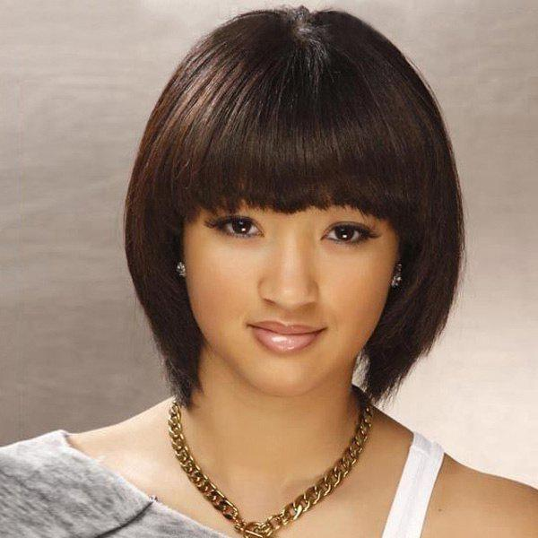 Short Full Bang Straight Endearing Women's Capless Human Hair Wig - MEDIUM BROWN