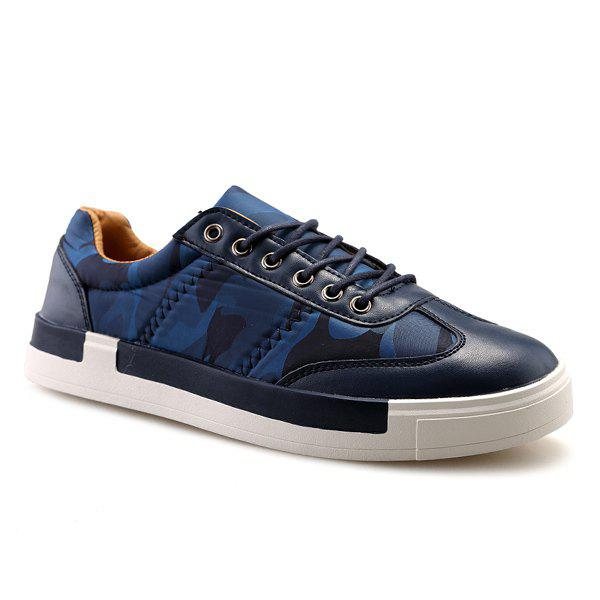 Sports Style Camouflage Print and Splice Design Men's Casual Shoes - BLUE 43