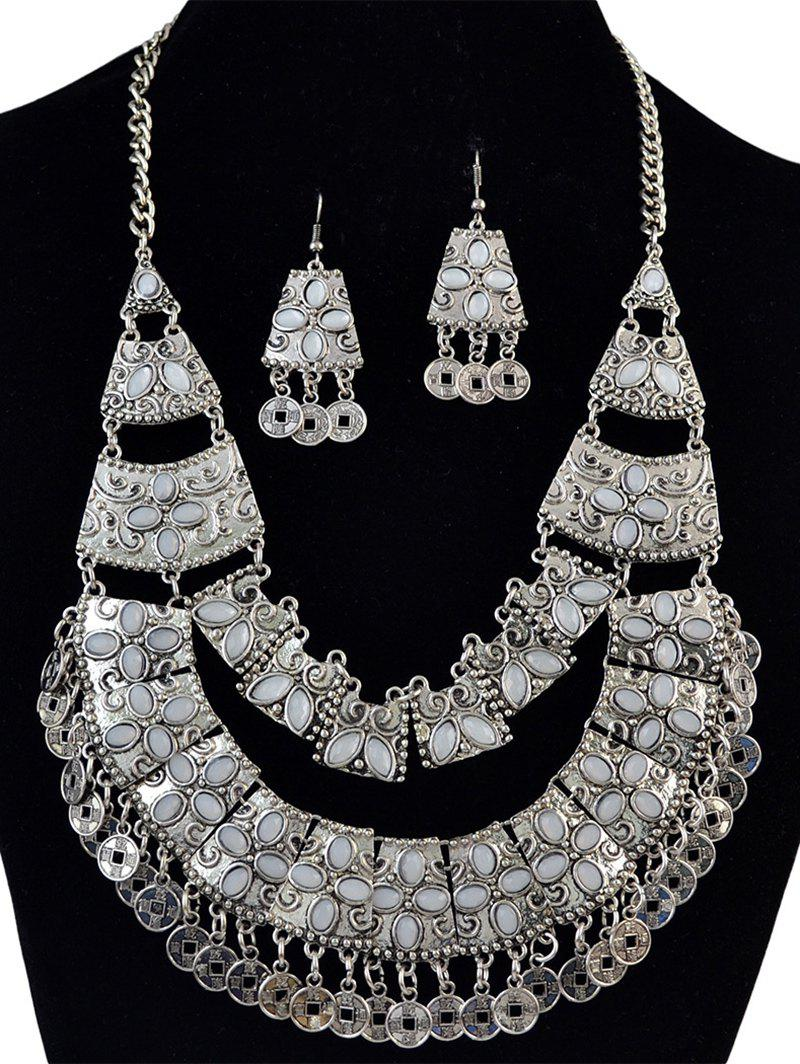 Retro Coin Fringe Statement Necklace and Earrings - SILVER