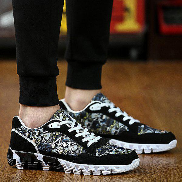 Stylish Splice and Printed Design Men's Athletic Shoes - BLACK 43