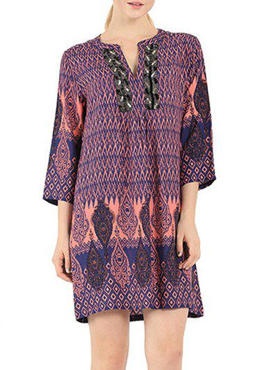 Ethnic Style V Neck 3/4 Sleeve Dress - COLORMIX XL