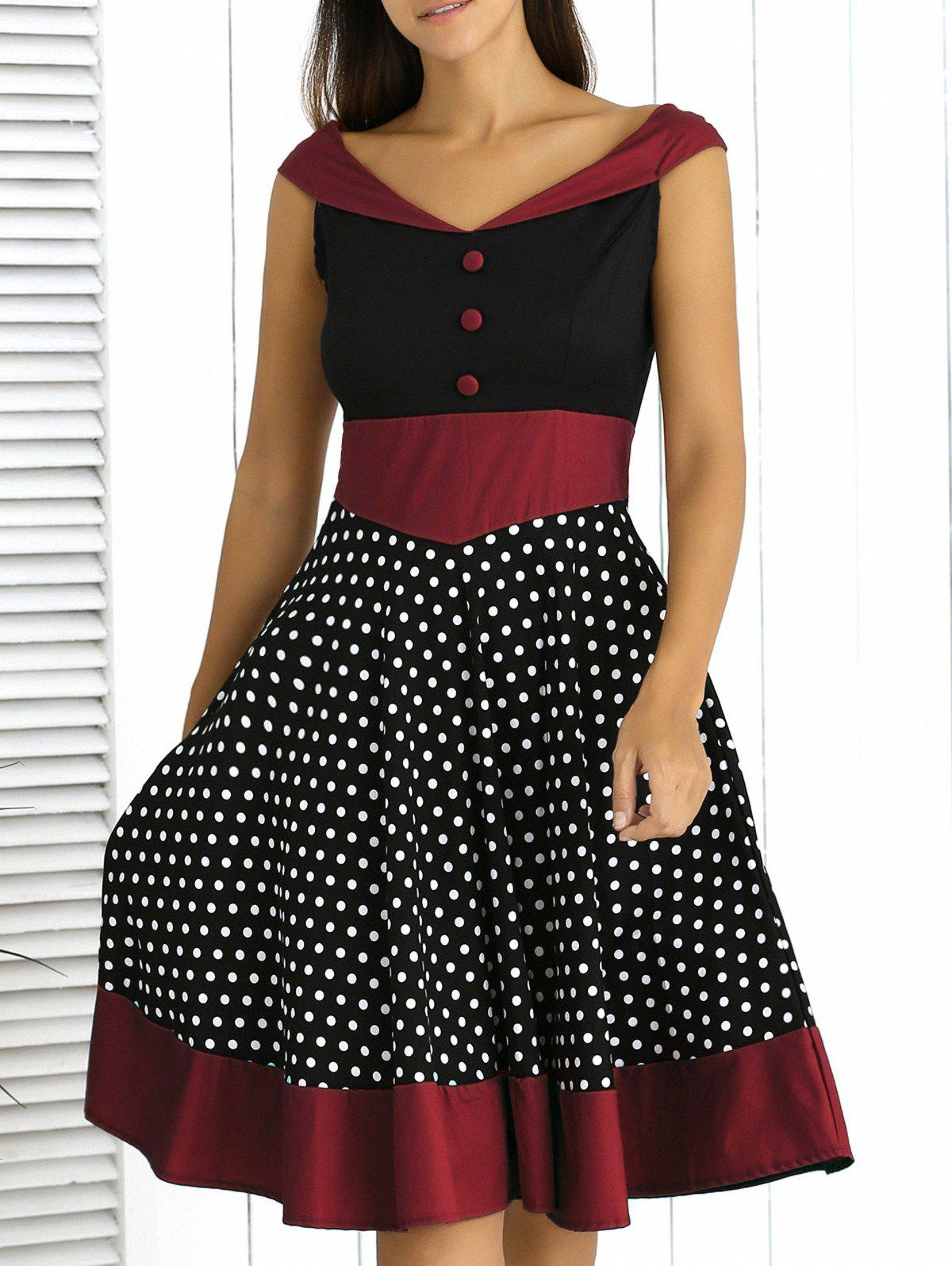 Retro Style Button Front Color Spliced Polka Dot Dress For Women