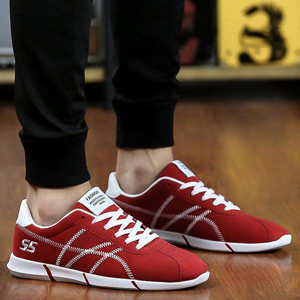 Sports Style Stitches and Lace-Up Design Men's Casual Shoes - RED 43