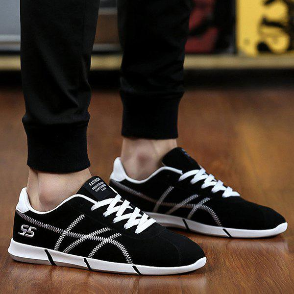 Buy Sports Style Stitches Lace-Up Design Men's Casual Shoes BLACK