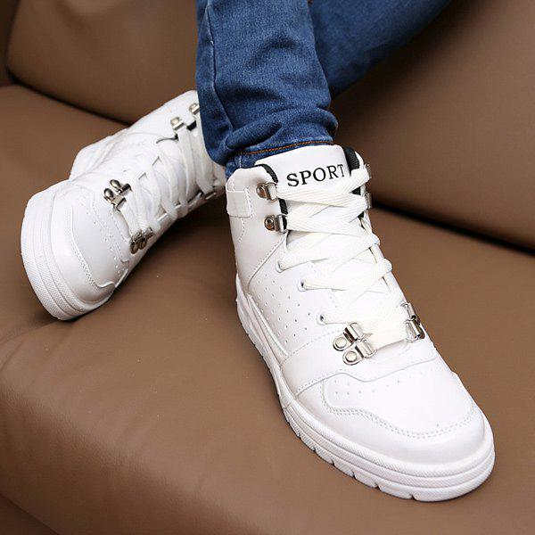 Stylish Tie Up and Breathable Design Men's Casual Shoes - WHITE 40