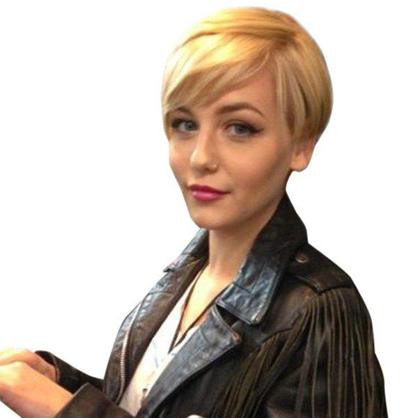 Outstanding Women's Short Side Bang Pixie Cut Capless Straight Real Human Hair Wig - BLONDE