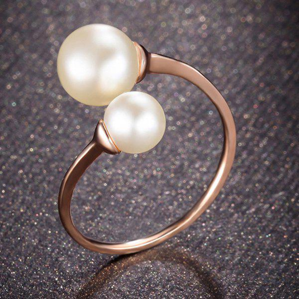 Fashion Style Faux Pearl Rose Gold Open Ring For Women