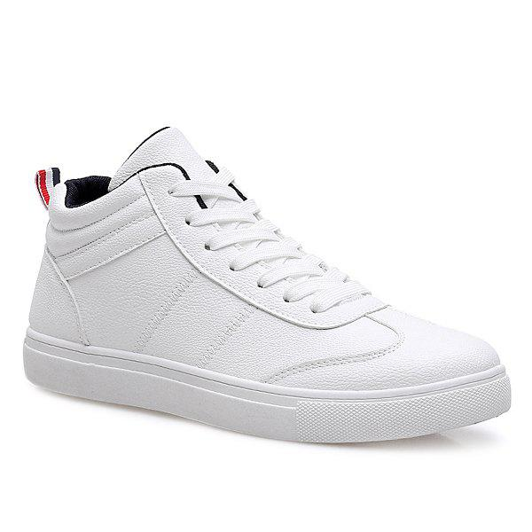 Simple Mid Top and PU Leather Design Men's Casual Shoes - WHITE 43