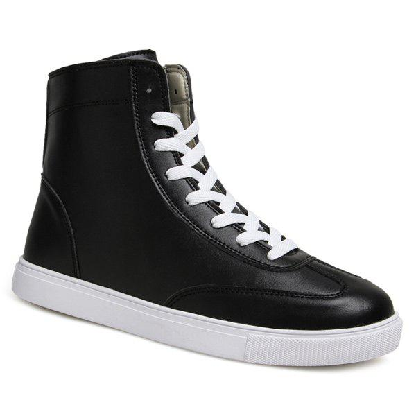 Trendy Solid Color and Lace-Up Design Men's Boots - BLACK 43