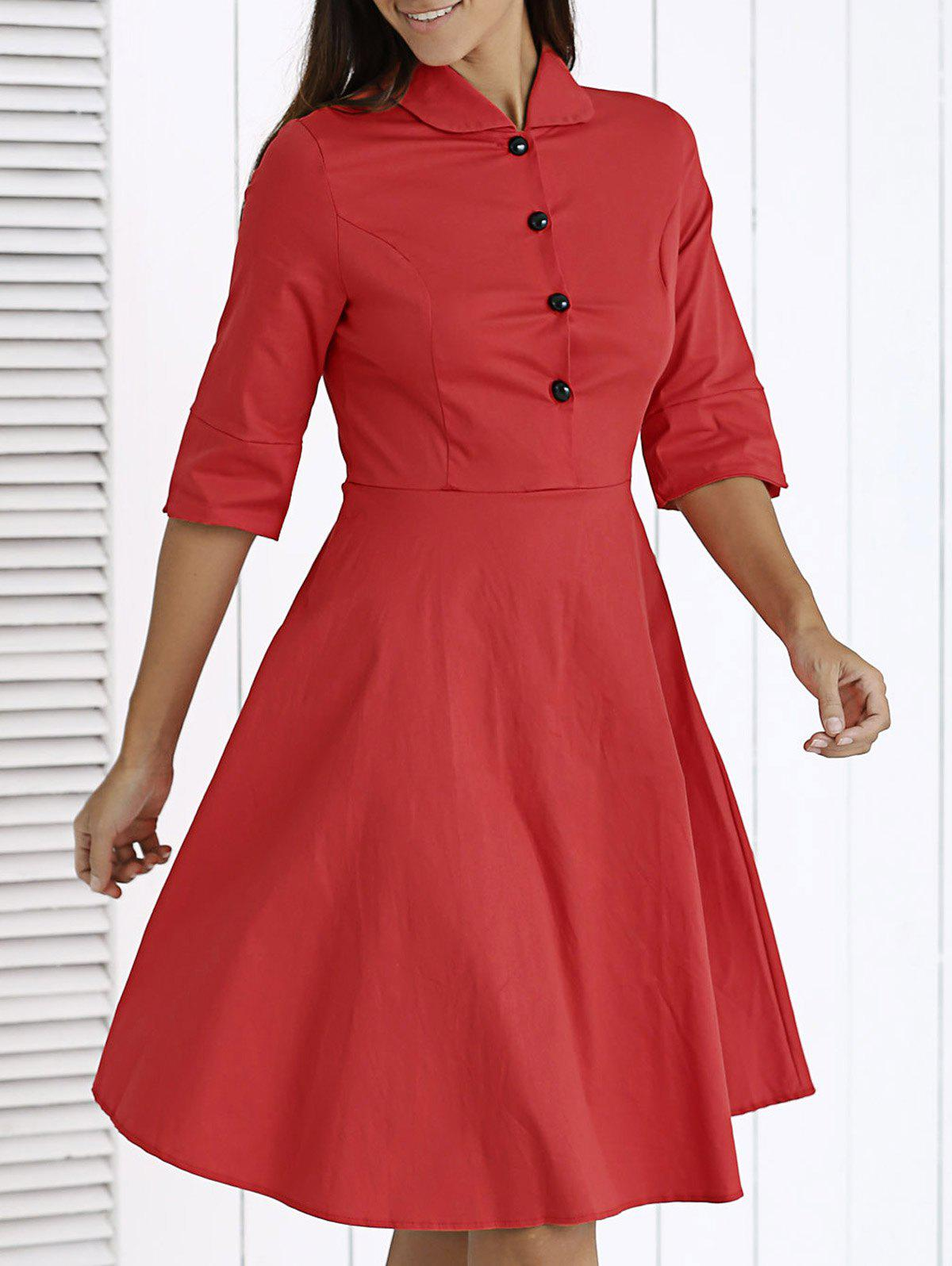Chic Button-Up Solid Color Flare Dress For Women - RED 2XL