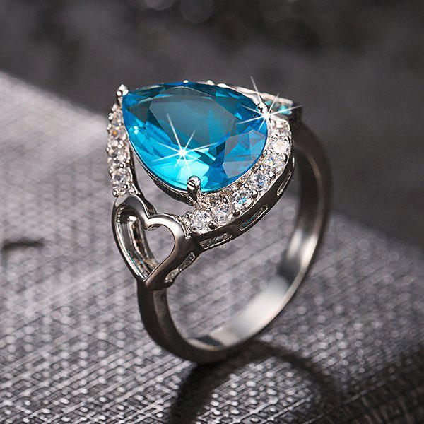 Rhinestoned Teardrop Faux Emerald Ring - LIGHT BLUE