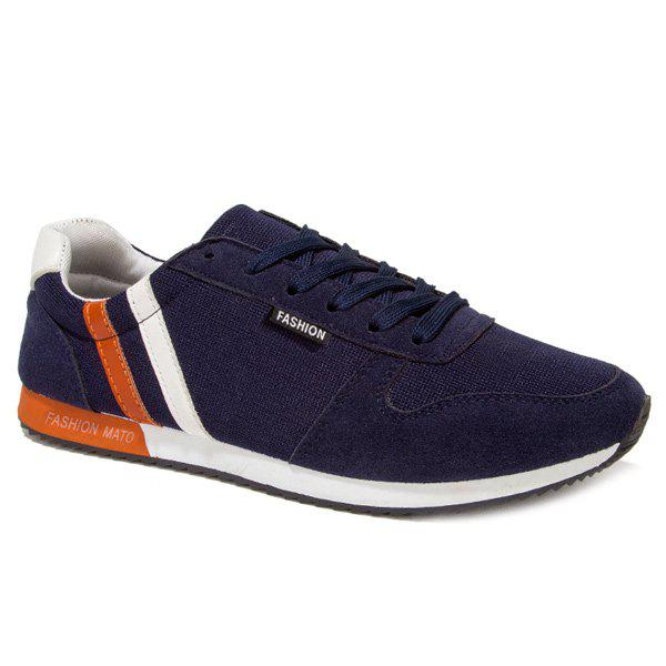 Leisure Tie Up and Splicing Design Men's Athletic Shoes - DEEP BLUE 43