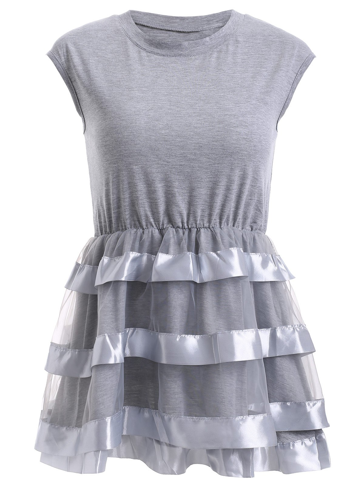 Chic Women's Organza Spliced Flounced Tank Top - 2XL GRAY