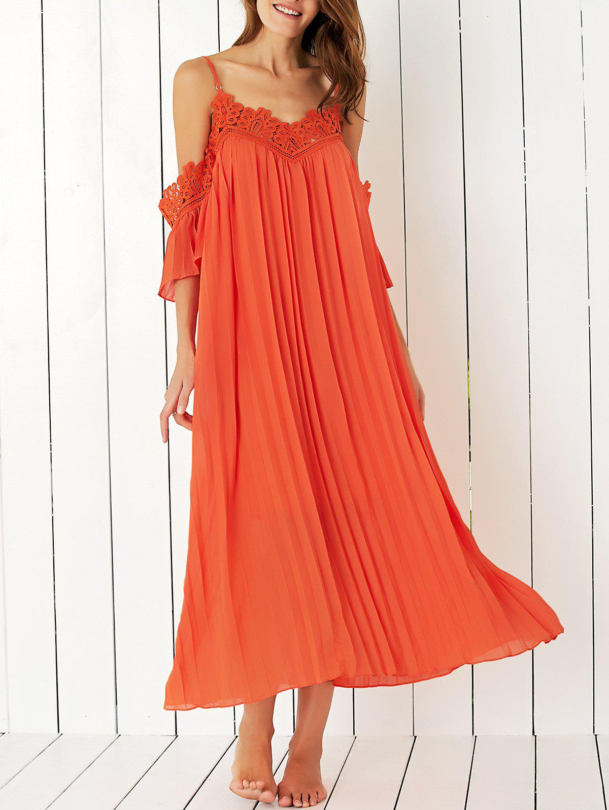 Bohemian Cold Shoulder Laciness Pleated Dress For Women - JACINTH L