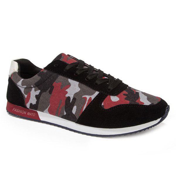 Trendy Splicing and Camouflage Pattern Design Men's Athletic Shoes - RED/BLACK 43
