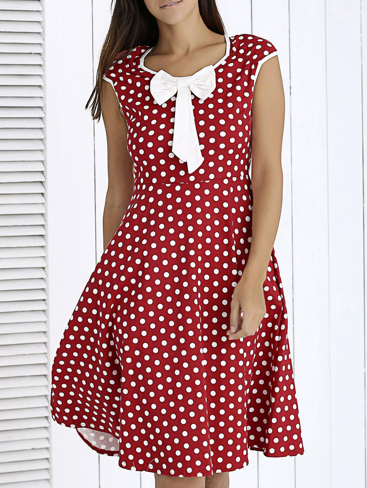 Vintage Bowknot Front Polka Dot Dress For Women - WINE RED 2XL