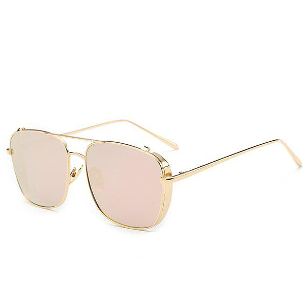 Retro Style Metal Frame Pink Mirrored Sunglasses For Women