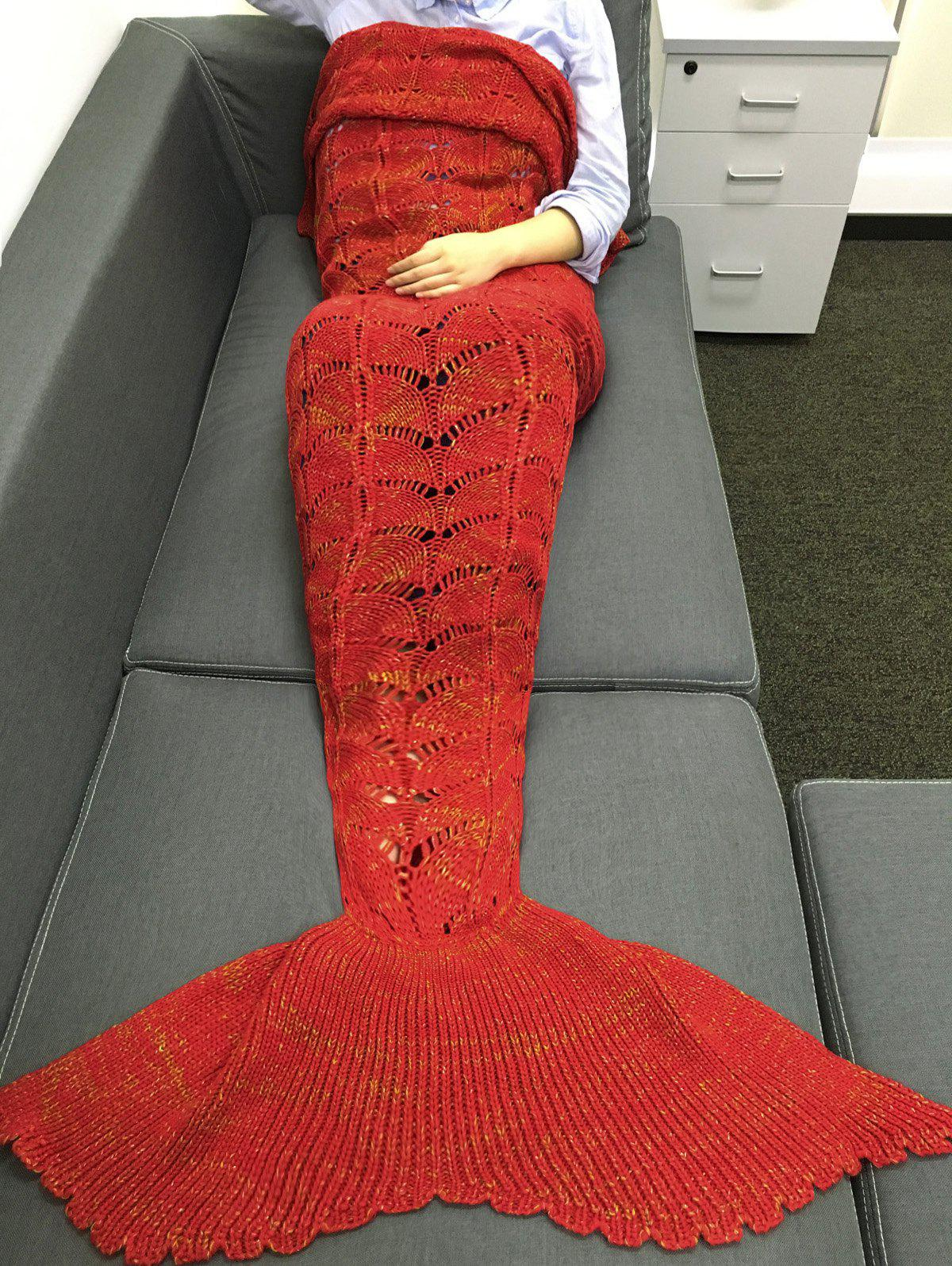 Fashionable Knitting Hollow Out Design Mermaid Shape Blanket -  RED