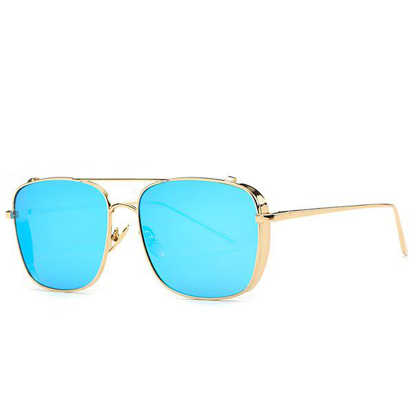 Retro Style Metal Frame Rectangle Mirrored Sunglasses For Women - BLUE
