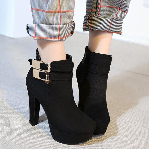 Party Chunky Heel and Metal Buckles Design Women's Ankle Boots - BLACK 39