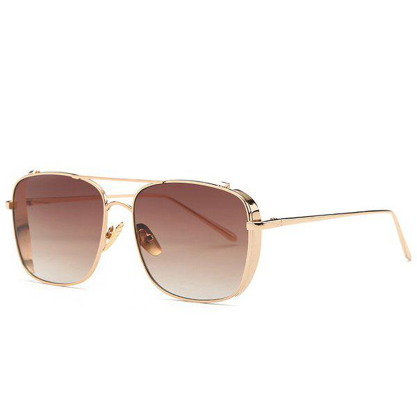 Retro Style Metal Frame Rectangle Ombre Sunglasses For Women - TEA COLORED