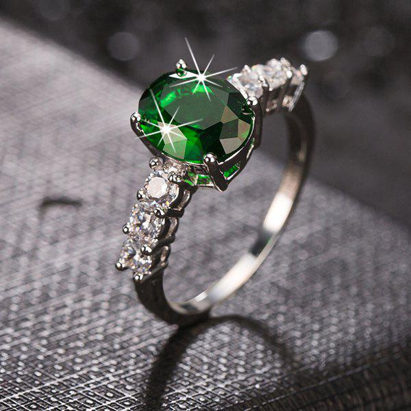 Rhinestone Oval Faux Emerald RingJewelry<br><br><br>Color: EMERALD