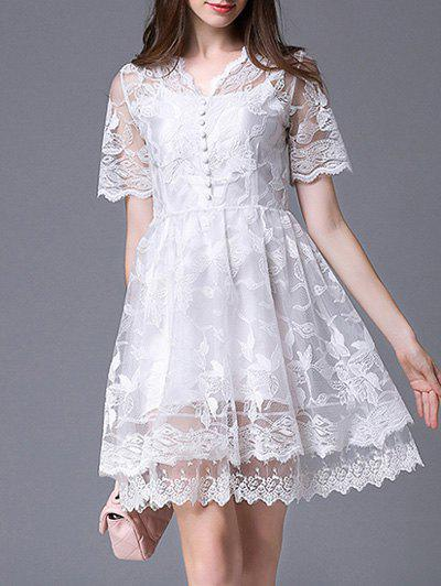 Sweet Laciness Jacquard White Dress For Women