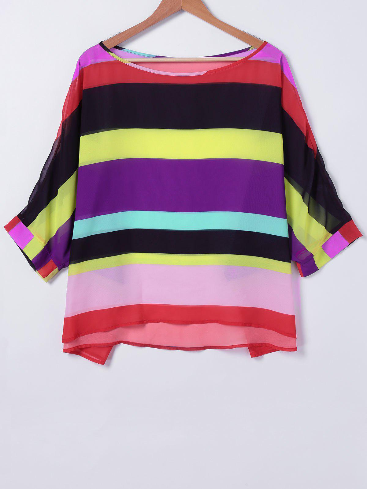Sweet Colorful Striped Blouse - COLORFUL XL