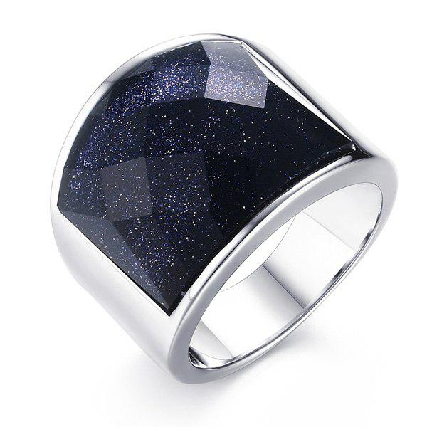 Stylish Stainless Steel and Blue San Embellished Ring For Men