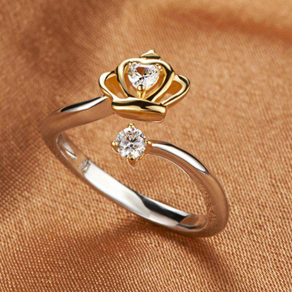 Delicate Cut Out Rhinestone Crown Open Ring For Women - GOLDEN