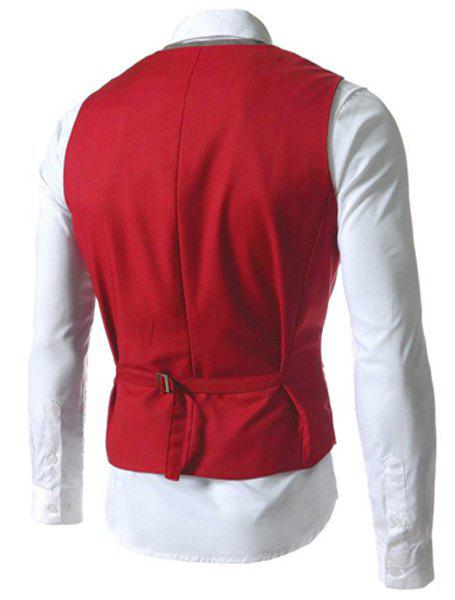 Single Breasted Color Block Faux Twinset V-Neck Sleeveless Men's Waistcoat - RED 2XL