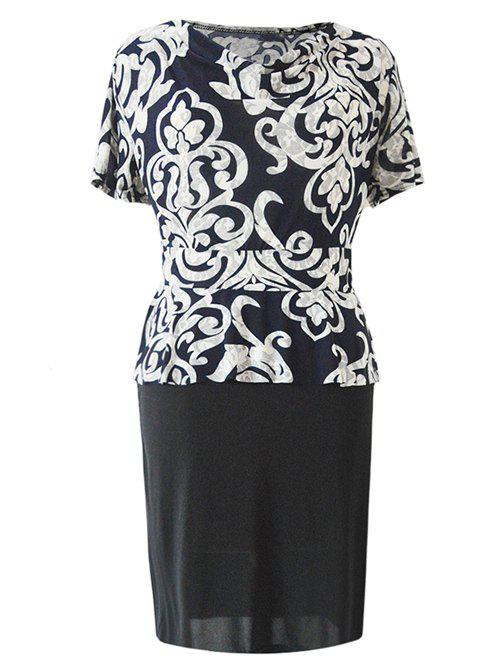 Chic Cowl Neck Paisley Print Spliced Women's Dress - BLACK XL