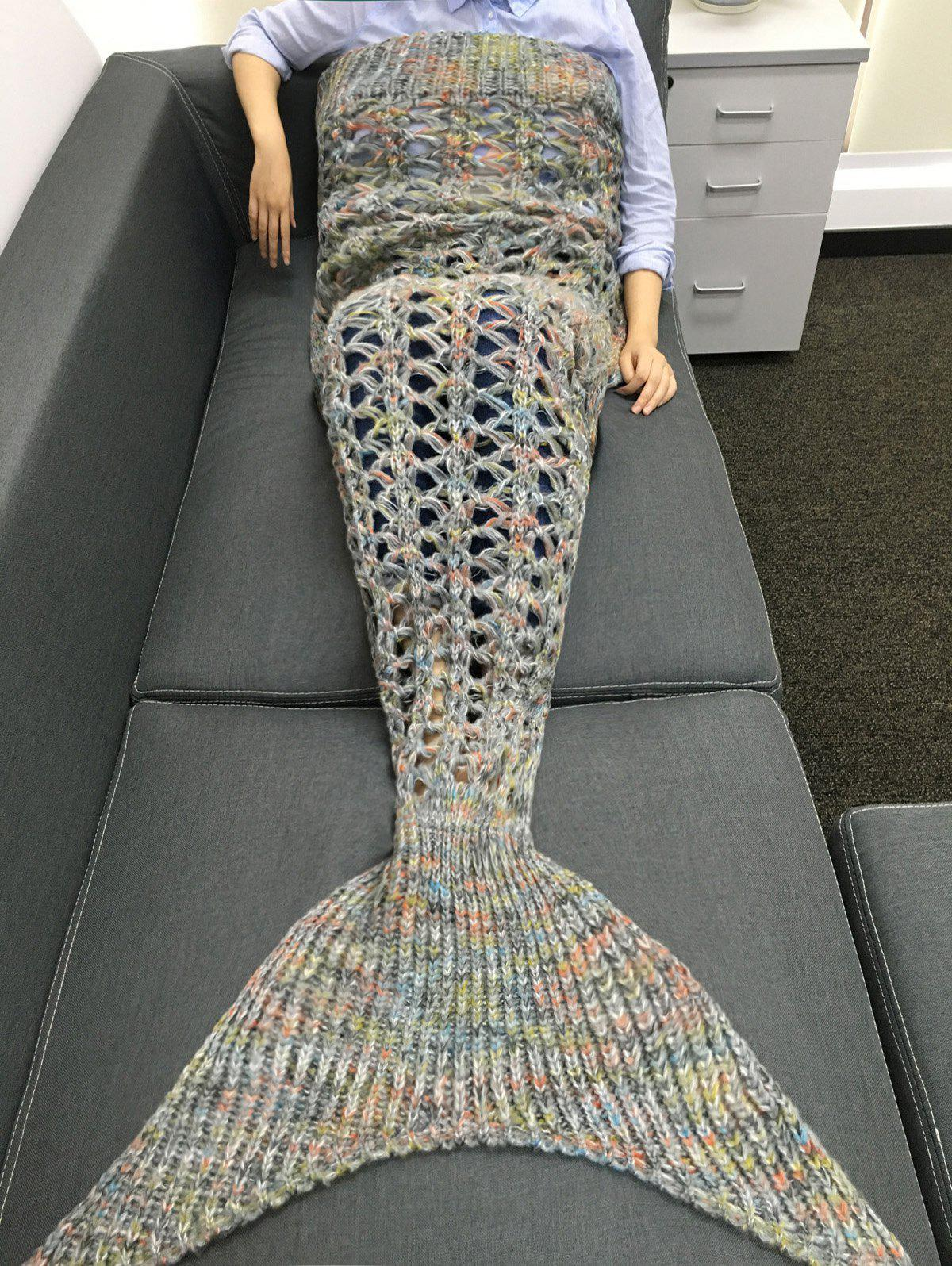 High Quality Cut Out Rhombus Design Knitting Mermaid Shape Blanket - GRAY
