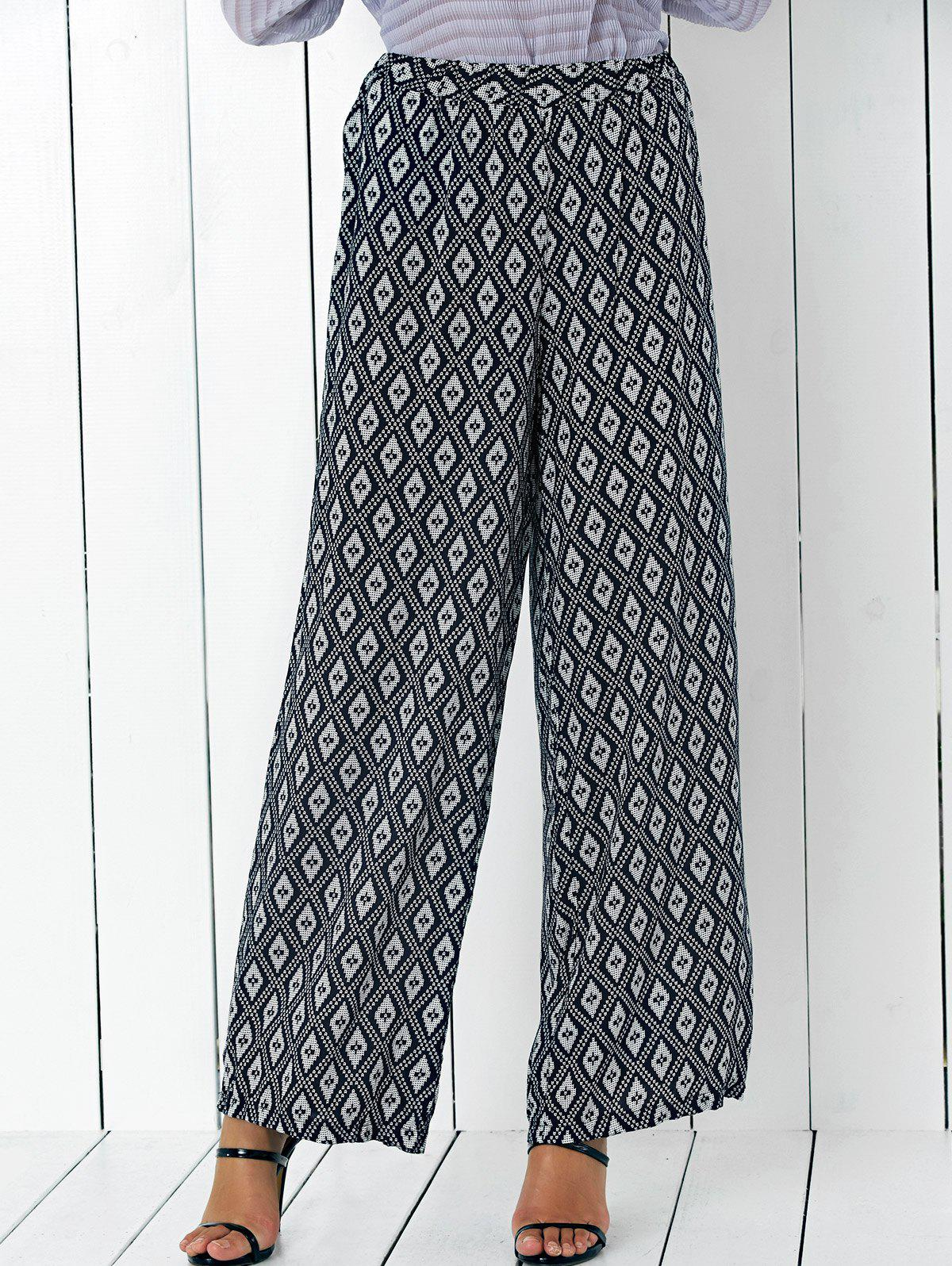 High Waisted Argyle Patterned Palazzo Pants - WHITE/BLACK L