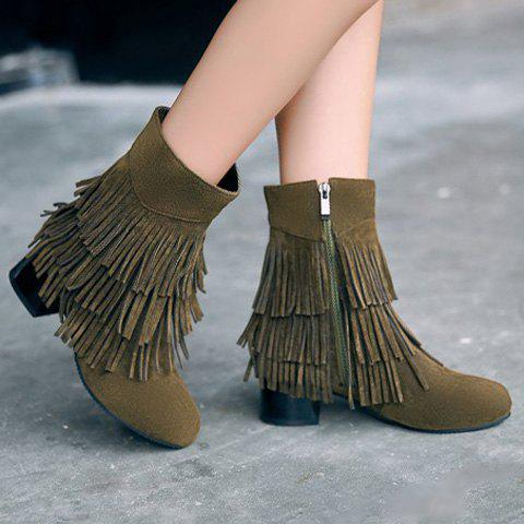 Buy Stylish Layer Fringe Chunky Heel Design Women's Boots ARMY GREEN