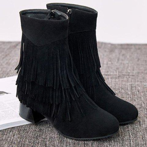 Stylish Layer Fringe and Chunky Heel Design Women's Boots - BLACK 38