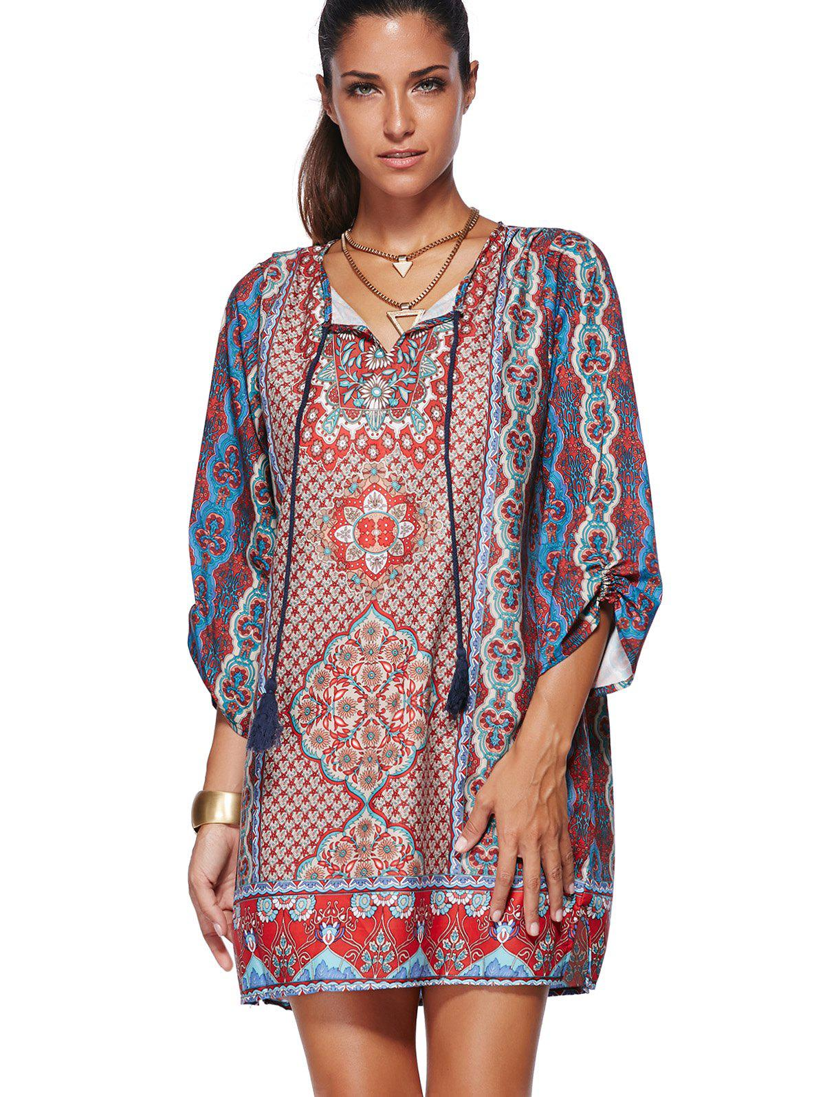Women's Ethnic V-Neck 3/4 Sleeve Tribal Printed Dress - RED S