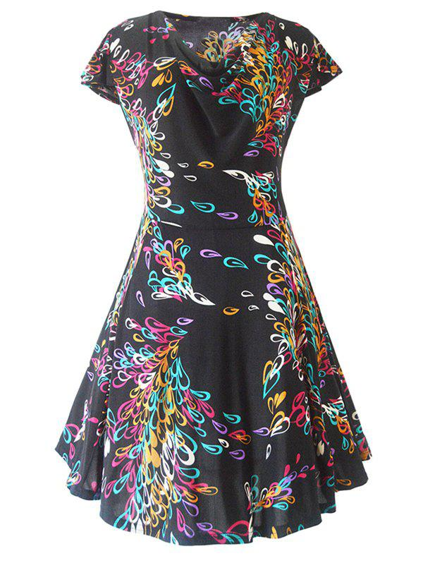 Retro Style Cowl Neck Multicolor Printed Women's Dress - BLACK XL